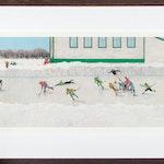 Breakaway 599/950 by William Kurelek Lithograph on Paper - (12.5x30 in)