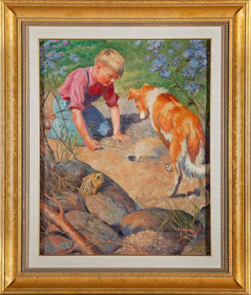 Boy Setting Gopher Trap Image 1