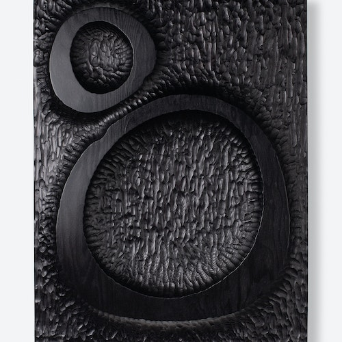 Untitled (Relief #5) by Djuna Day, 2019 Carved douglas fir, ebony dye and wax - (18x14 in)