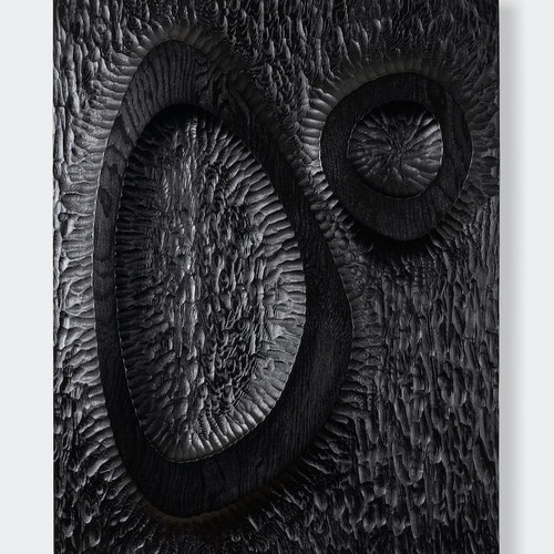 Untitled (Relief #9) by Djuna Day, 2019 Carved douglas fir, ebony dye and wax - (18x14 in)