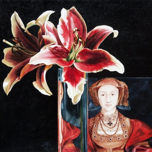 The Red Queen by Vivian Thierfelder Mixed Media on canvas - (13x13 in)