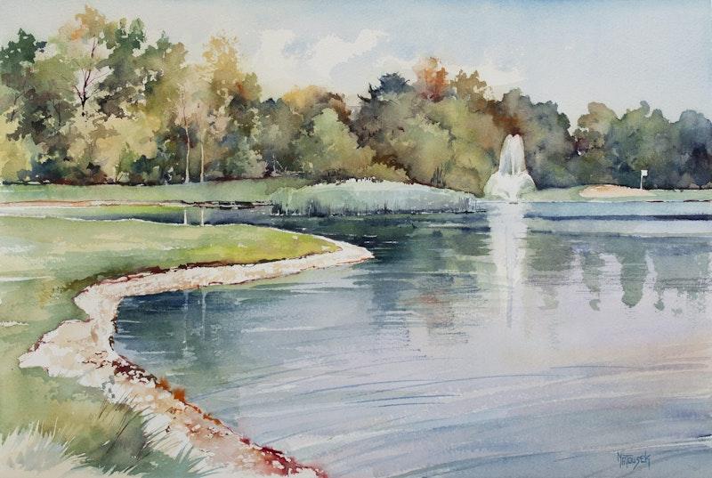 Fountain on Golf Course, Niakwa Image 1