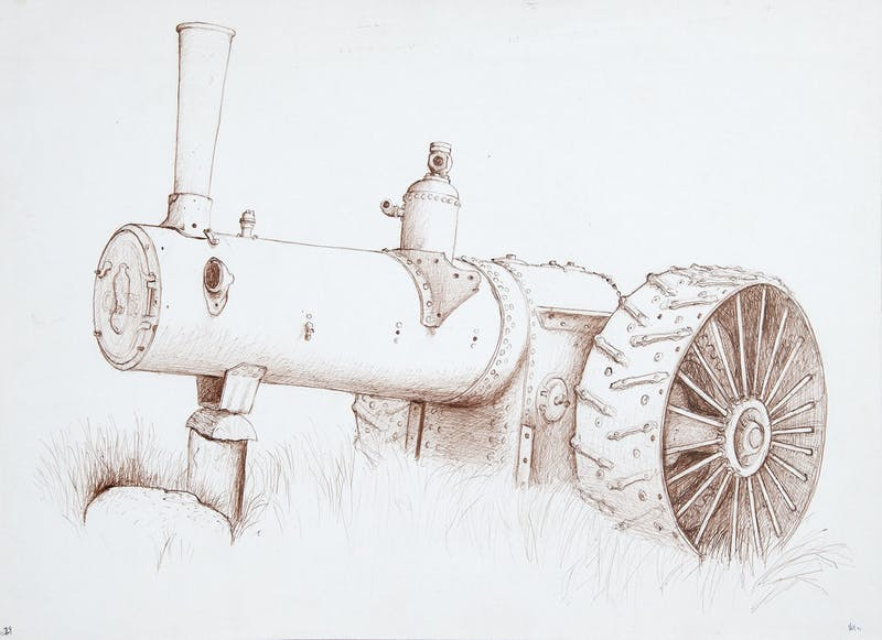 Stripped Case Steam Tractor
