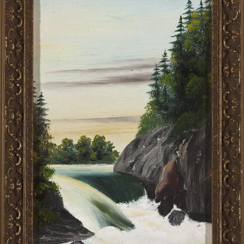 1st Falls by Lionel Stephenson, circa 1872 Oil on Board - (9x6 in)