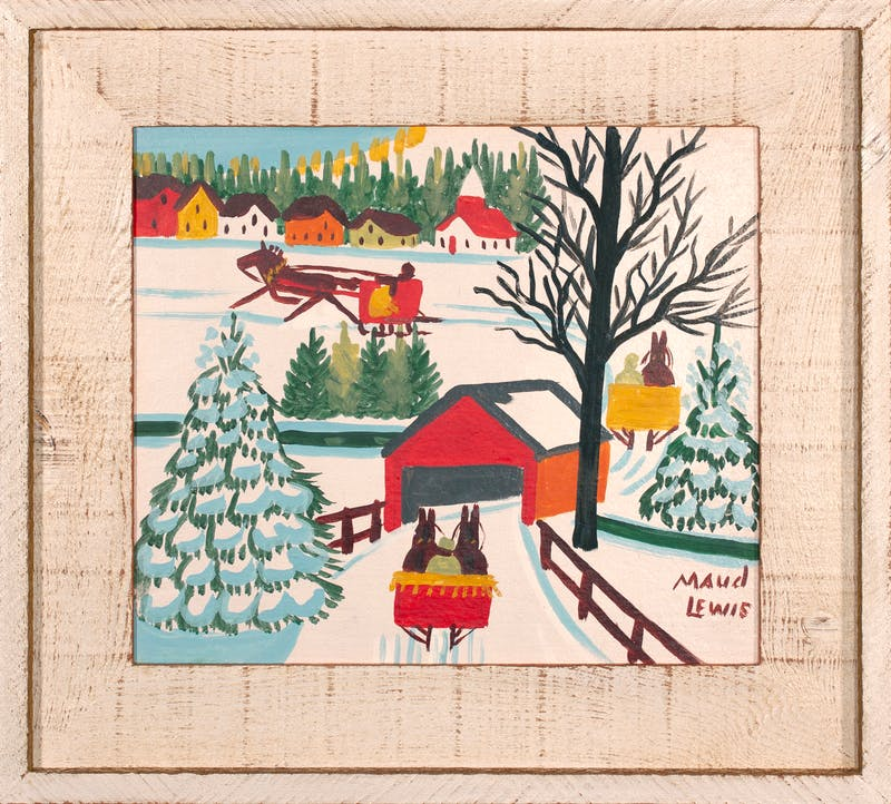 Sleighs and Covered Bridge Image 1