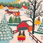 Sleighs and Covered Bridge by Maud Lewis, circa 1965 Oil on Panel - (12x14 in)