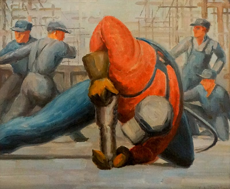 Rivetter on Deck of the Hull 10,000 Ton Cargo Ship United Shipyards Ltd, Montreal Image 1