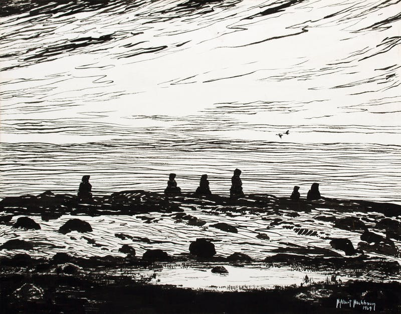 Inukshuks on the Hudson Bay Shoreline– McConnel River, N.W.T. Thumbnail 1