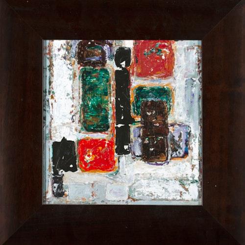 Sans Titre by Henriette Fauteux-Masse, circa 1959 Oil on Panel - (9.75x9.5 in)