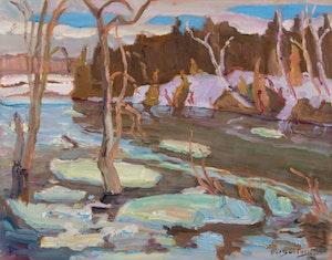 Ice on the Jock River near Hearts Desire, ON