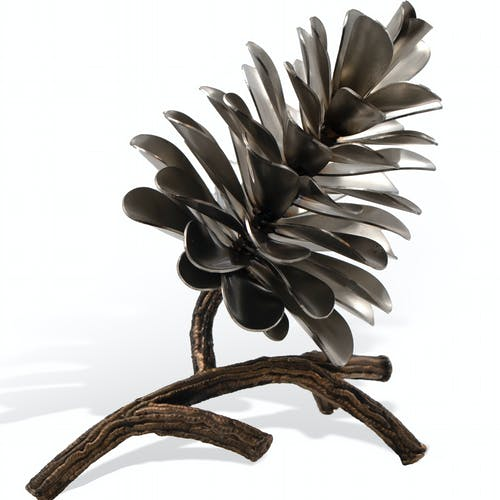 Pine Cone on Branch #20-578 by Floyd Elzinga, 2020 Stainless Steel - (8x6x9 in)