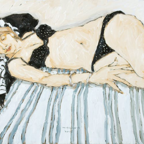 Reclining Model on Striped Blanket by Robert McInnis, 2015 Oil on Panel - (12x16 in)