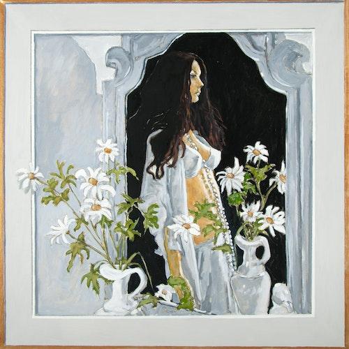 Marla in the Mirror by Robert McInnis, 2014 Oil on Linen - (30x30 in)