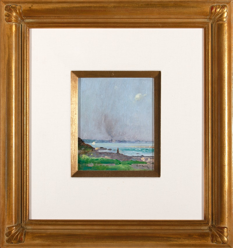 View of the St. Lawrence by Marc Aurele Fortin, 1911 Oil on Panel - (6.5x5.5 in)