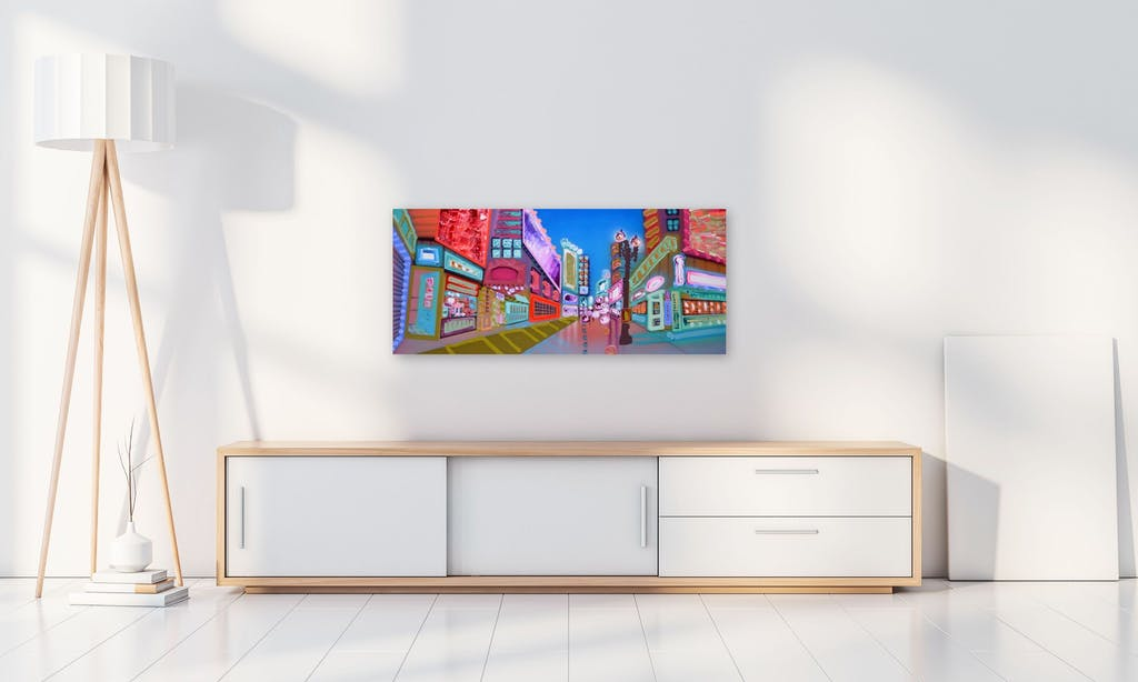 The Nights Are Bright by Sheila Kernan, 2021 Mixed Media on Canvas - (24x54 in)
