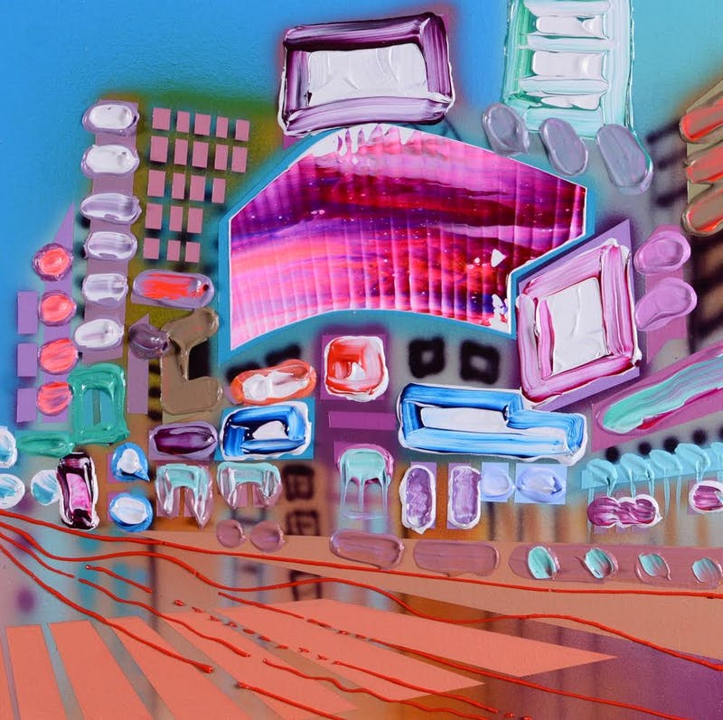 City Buzz II by Sheila Kernan, 2020 Mixed Media on Canvas - (12x12 in)