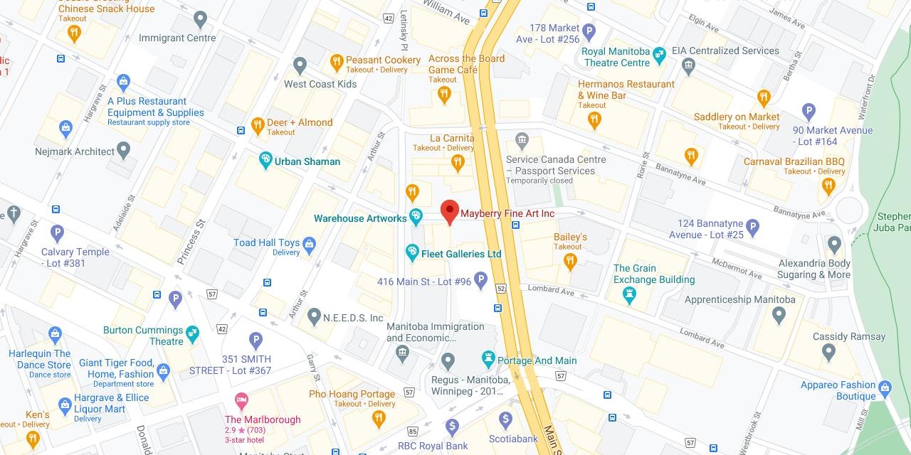 Google Maps Mayberry Fine Art WInnipeg Downtown Location