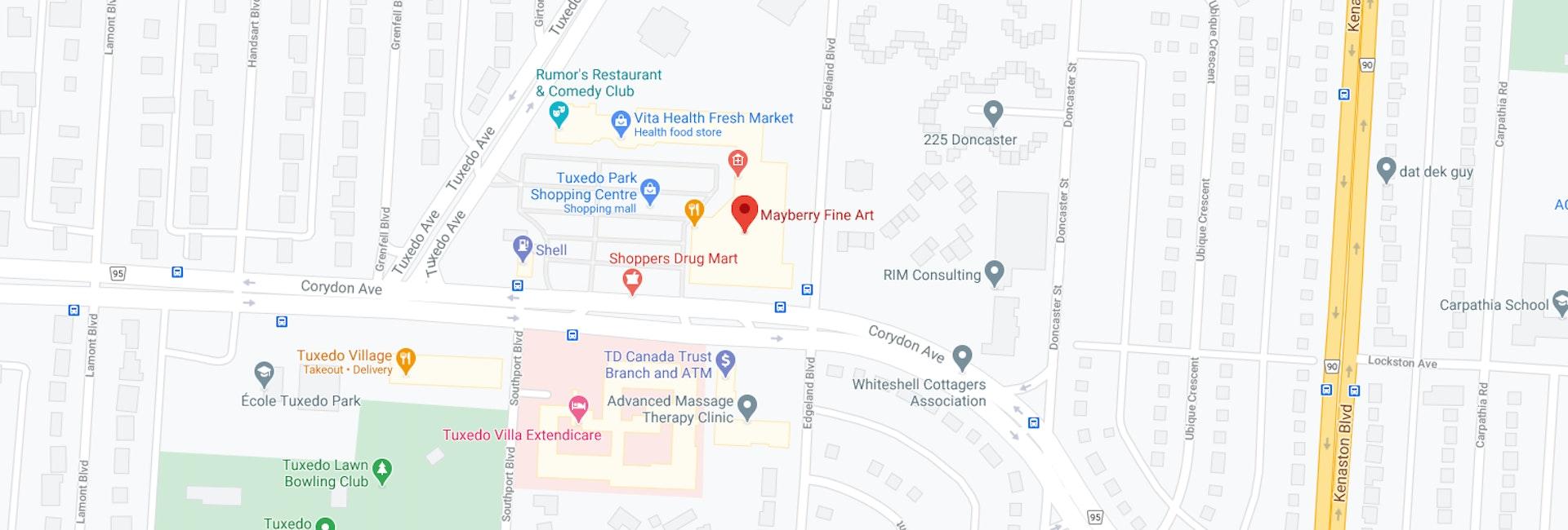 Google Maps Mayberry Fine Art WInnipeg Tuxedo Location